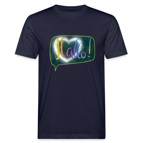 Hallo! Lettering mit Herz in Sprechblase - Männer Bio-T-Shirt
