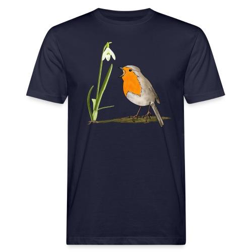 Frühling, Rotkehlchen, Schneeglöckchen - Männer Bio-T-Shirt