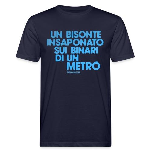Un bisonte insaponato sui binari di un metrò. - T-shirt ecologica da uomo