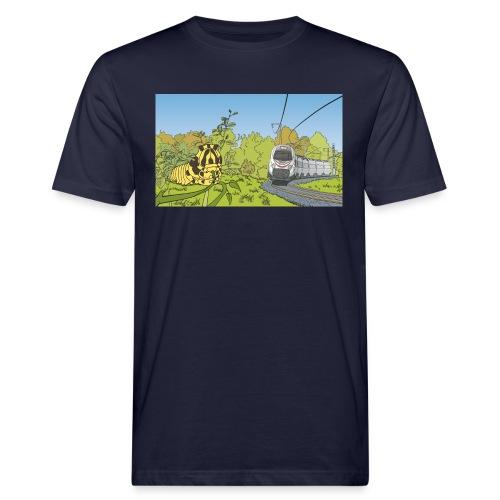 Raupe und Zug - Männer Bio-T-Shirt