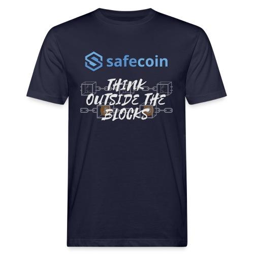 SafeCoin; Think Outside the Blocks (blue + white) - Men's Organic T-Shirt