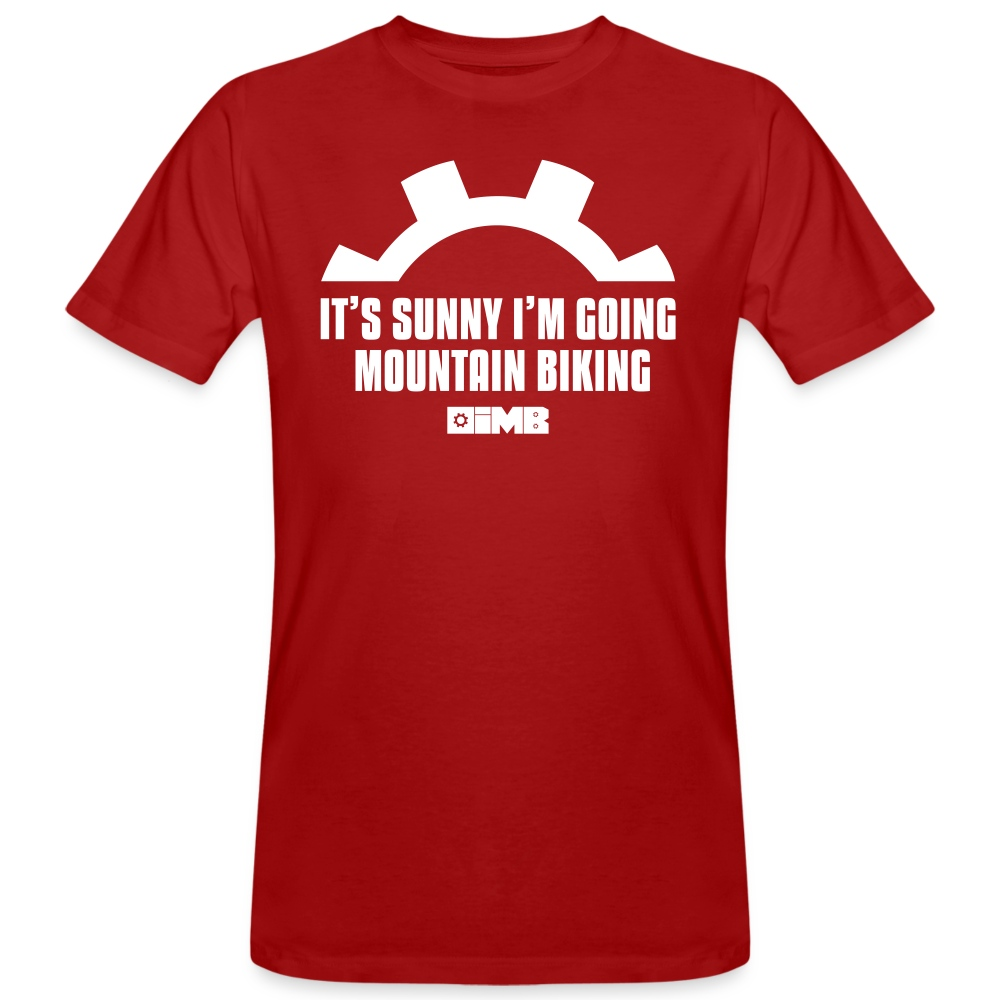 It's Sunny I'm Going Mountain Biking - Men's Organic T-Shirt - dark red