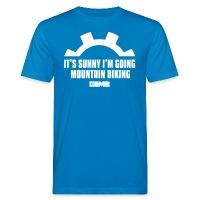 It's Sunny I'm Going Mountain Biking - Men's Organic T-Shirt - peacock-blue