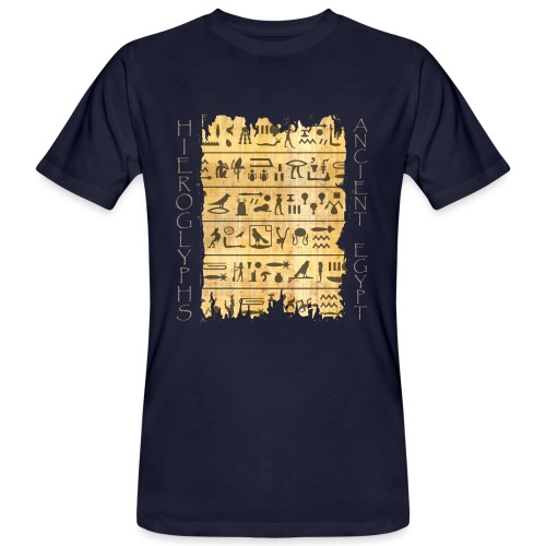 Ausgerissener Papyri mit Hieroglyphen - Männer Bio-T-Shirt