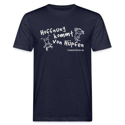 Hoffnung kommt von Hüpfen - Kontrastline - Männer Bio-T-Shirt