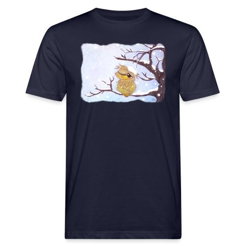 Kauz im Schnee - Männer Bio-T-Shirt