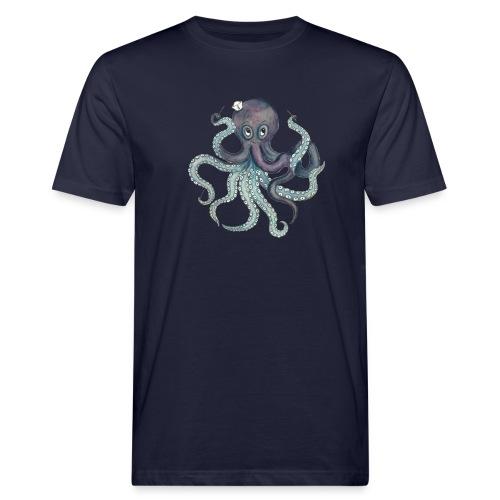 Oktopus mit weißem Logo - KlingBim Kinderlieder - Männer Bio-T-Shirt