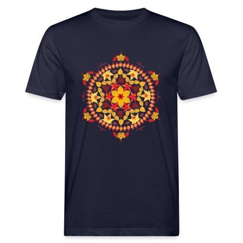 Mandalatraum in Orange aus Blätter - Männer Bio-T-Shirt