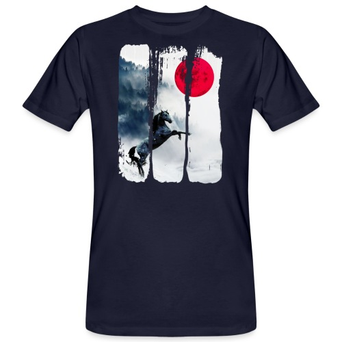 Vollmond Pferd - Männer Bio-T-Shirt