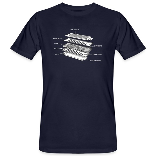 Exploded harmonica - white text - Men's Organic T-Shirt
