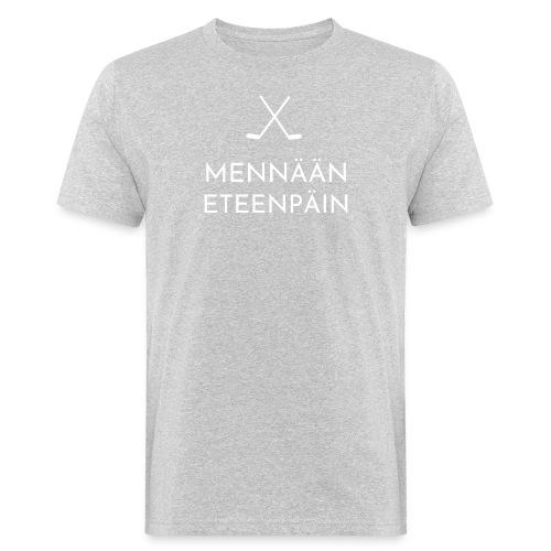 Mennaeaen eteenpaein valkoinen - Miesten luonnonmukainen t-paita
