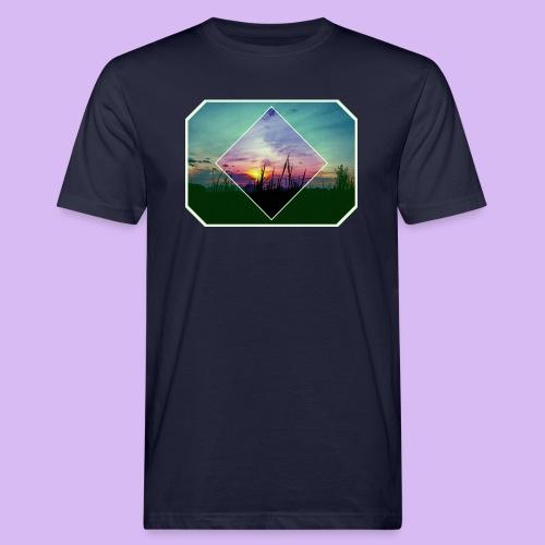Tramonto in risalto tra figure geometriche - T-shirt ecologica da uomo