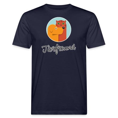 Tierfreund mit Schriftzug - Männer Bio-T-Shirt