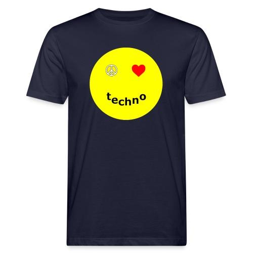 camiseta paz amor techno - Camiseta ecológica hombre