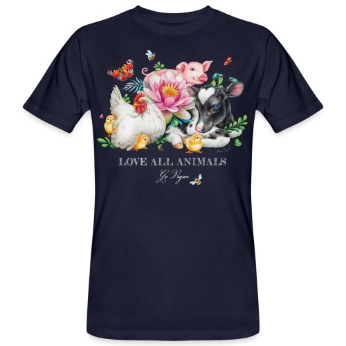 Love animals white text - Men's Organic T-Shirt