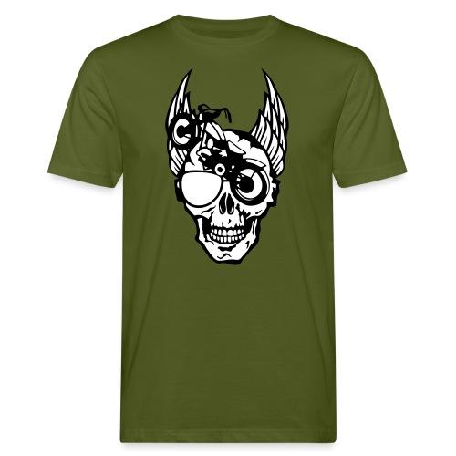 tete mort moto skull aile motard oeil - T-shirt bio Homme