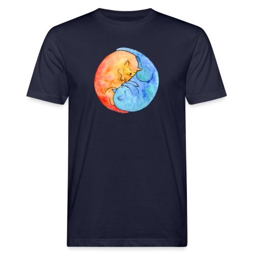 Katzenfreunde Yin Yang orange und blau - Männer Bio-T-Shirt