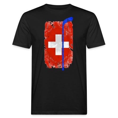 Schweizer Flagge Hockey - Männer Bio-T-Shirt