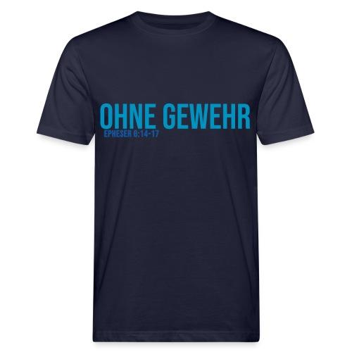 OHNE GEWEHR - Print in blau - Männer Bio-T-Shirt