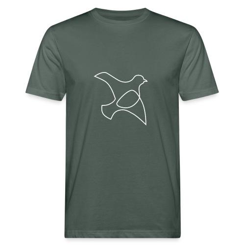 oP-Friedenstaube minimalistisch weiss - Männer Bio-T-Shirt