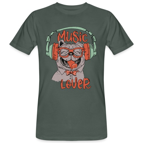 Music Lover - Happy Pug Dog Head Vintage style - Men's Organic T-Shirt