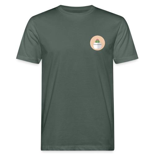 Flat Cactus Flower Round Potted Plant Motif - Men's Organic T-Shirt