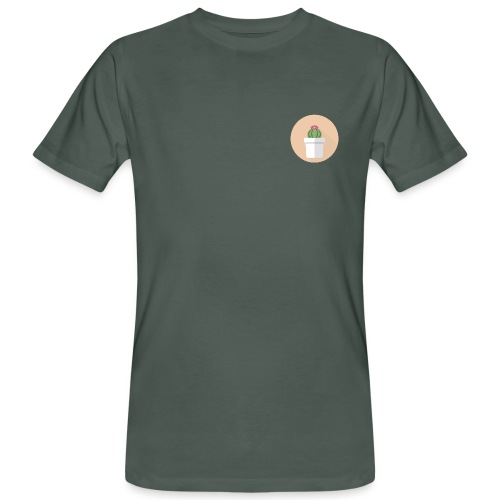 Flat Cactus Flower Potted Plant Motif - Men's Organic T-Shirt