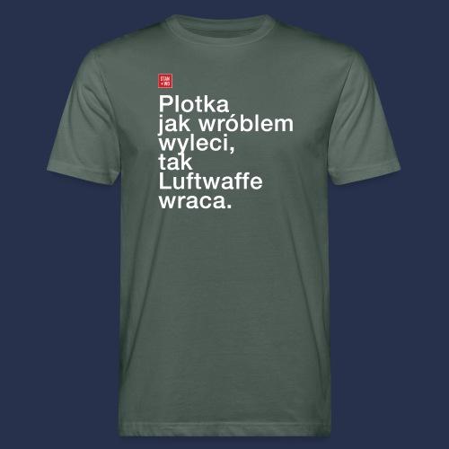 plotka - napis jasny - Ekologiczna koszulka męska