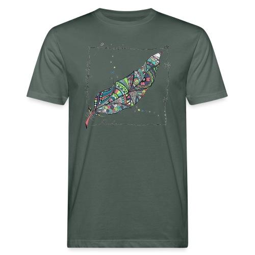 Feder bunt - Männer Bio-T-Shirt