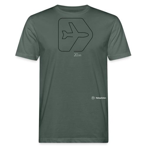 Netzpiloten Logo weiss - Männer Bio-T-Shirt