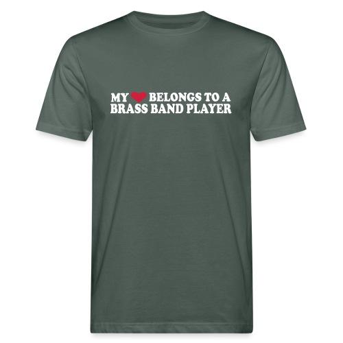 MY HEART BELONGS TO A BRASS BAND PLAYER - Økologisk T-skjorte for menn