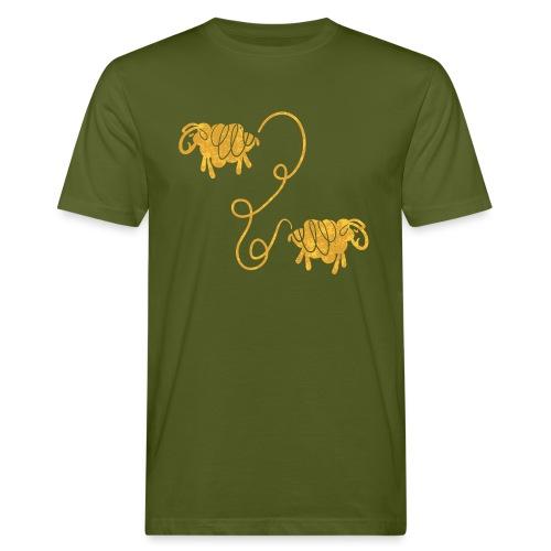 Miteinander verbundene Linoldruck Schafe in senf - Männer Bio-T-Shirt