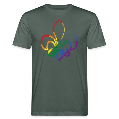 Pinselstrich Lilie Regebogenfahne - Männer Bio-T-Shirt