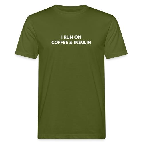 I run on coffee & insulin ETUPUOLI - Miesten luonnonmukainen t-paita
