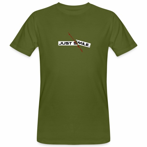 JUST SMILE Design mit blutigem Schnitt, Depression - Männer Bio-T-Shirt