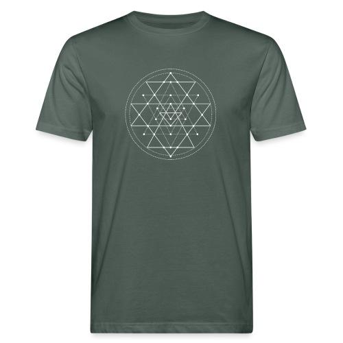 Valkoinen geometrinen Shri Yantra -kuvio - Miesten luonnonmukainen t-paita
