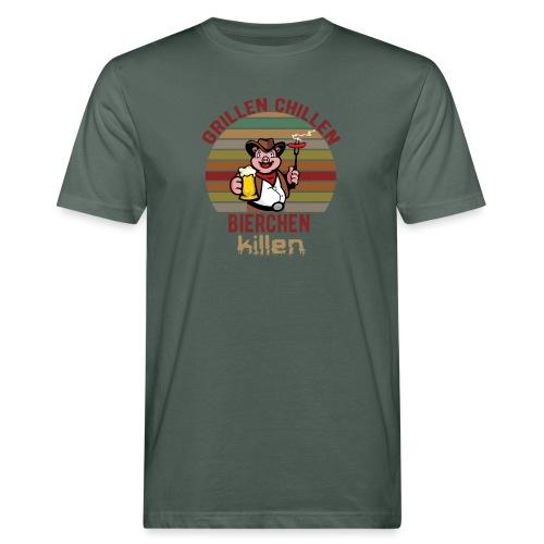 Grillen Chillen Bierchen Killen Lustiges Humorvol - Männer Bio-T-Shirt