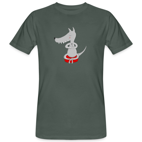 Wolf in tiefer Meditation - Männer Bio-T-Shirt