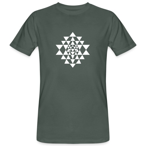 Valkoinen Shri Yantra -kuvio - Miesten luonnonmukainen t-paita