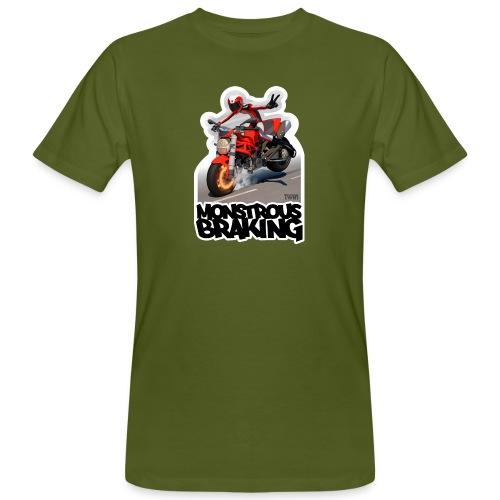 Ducati Monster, a motorcycle stoppie. - Camiseta ecológica hombre