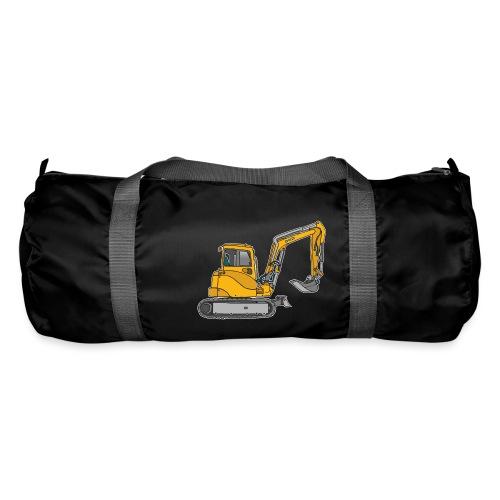 BAGGER, gelbe Baumaschine mit Schaufel und Ketten - Sporttasche