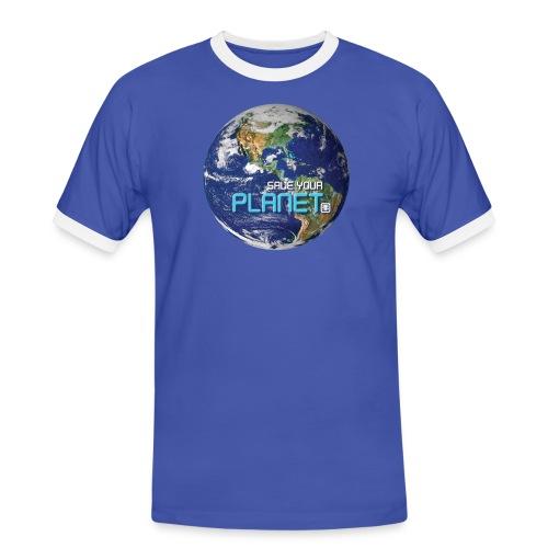 SAVE YOUR PLANET - Herre kontrast-T-shirt