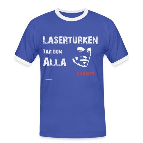Laserturken Tar dom alla vit - Kontrast-T-shirt herr