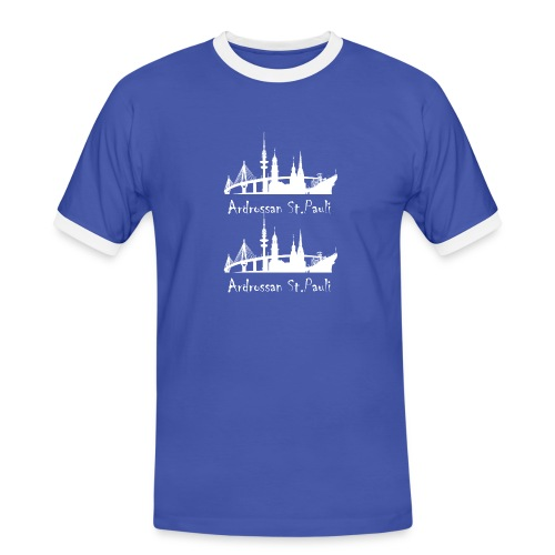 hamburg skyline white asp png - Men's Ringer Shirt