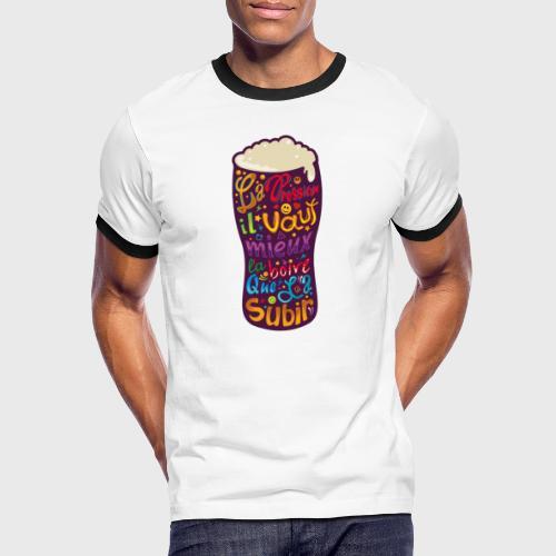 Bière pression typographies colorées - T-shirt contrasté Homme