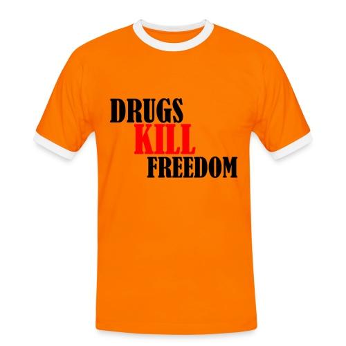 Drugs KILL FREEDOM! - Koszulka męska z kontrastowymi wstawkami