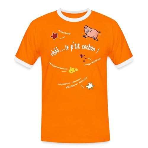 Rhoo le ptit cochon ! (version pour fond sombre) - T-shirt contrasté Homme