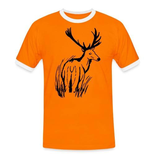 Hirsch im Gras - Männer Kontrast-T-Shirt