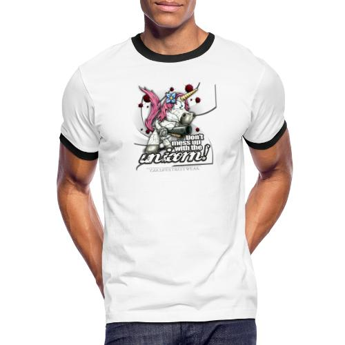 Don't mess up with the unicorn - Männer Kontrast-T-Shirt