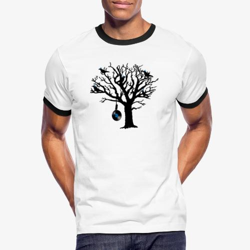 Musical Birds in Tree 2 blau Hangman Vinyl - Männer Kontrast-T-Shirt